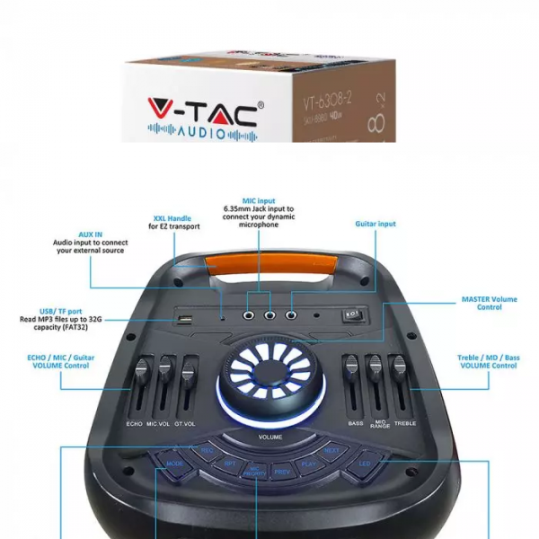 40W Prijenosni zvučnik s mikrofonom i daljinskim upravljačem, 3600 mAh