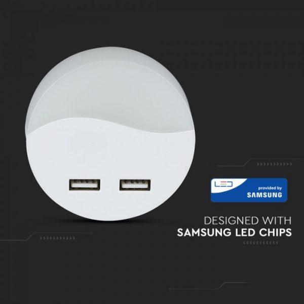 LED noćno svjetlo 0,4 W, 2 x USB, 3000K Samsung čip, okruglo