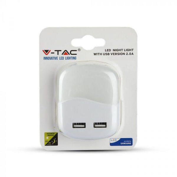 LED noćno svjetlo 0,4 W, 2 x USB, 3000K Samsung čip, četvrtasto