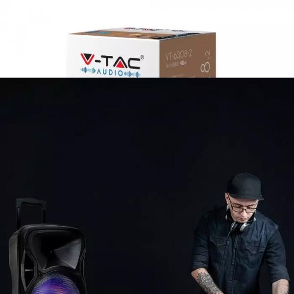 50W Prijenosni Bluetooth zvučnik s 2 mikrofona i daljinskim upravljačem, 2200 mAh