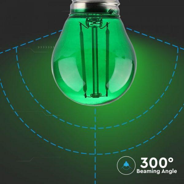 LED žarulja - 2W filament E27 G45 , zelena boja