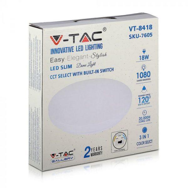 LED stropna lampa - 18W, 3u1 - milky