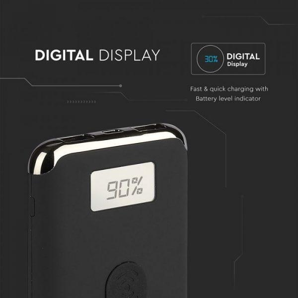 10000 Mah Power Bank sa digitalnim ekranom, bežično punjenje, crni