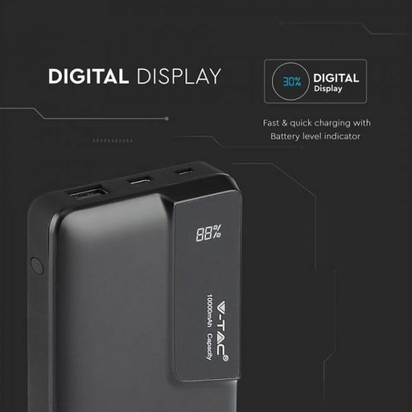 10000 Mah Power Bank sa digitalnim ekranom, crni