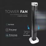 Podni ventilator s digitalnim zaslonom i daljinskim upravljačem 55W 3 brzine vrtnje 120cm crni